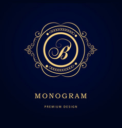 monogram design elements graceful template vector image