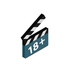 Movie clapper with rate 18 plus icon vector image