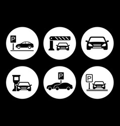 Parking round icons set vector
