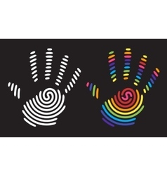 rainbow hand print vector image vector image