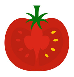 Red half of tomato icon isolated vector