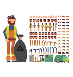 sanitation worker man character creation vector image vector image