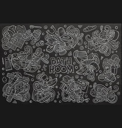 Set of bathroom doodles designs vector