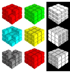 Set of multicolored cubes vector