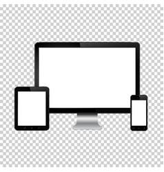 set of realistic computer monitor digital tablet vector image vector image