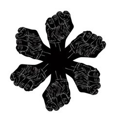 Six fists abstract symbol black and white special vector image vector image
