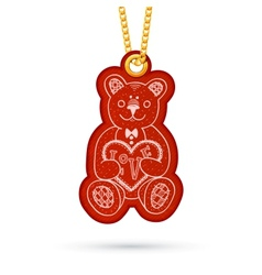 Teddy bear with present Label tag hanging on vector image