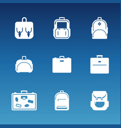 white flat travel bag icons set vector image