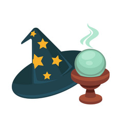 wizard hat with stars and magic glass ball vector image vector image
