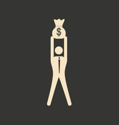 Flat in black white man and money bag vector