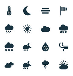 Meteorology icons set collection of flag moon vector