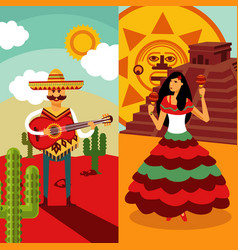 traditional mexico vertical banners vector image