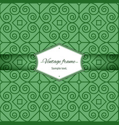 Green seamless patterns with vintage frame vector