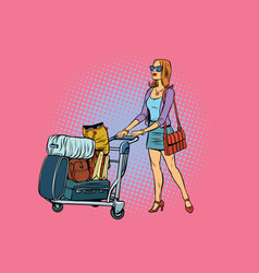 Woman tourist with luggage cart vector
