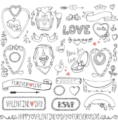 Valentines daywedding framesicon ribbon decor vector