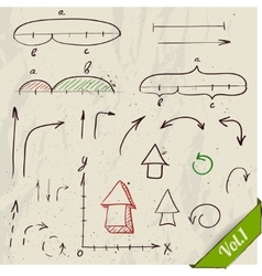 Set of arrows and math elements vector