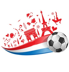 France flag and symbol with soccer ball vector