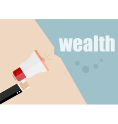 Wealth megaphone flat design business vector