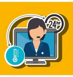 Nurse 24-hour health isolated icon design vector