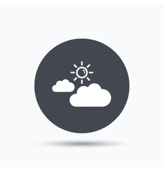 Cloud with sun icon sunny weather sign vector