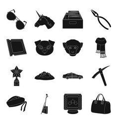 Accessories bag mine and other web icon in black vector