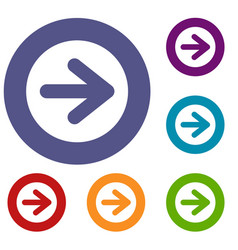 Arrow in circle icons set vector