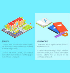 Back to school education posters with isolated 3d vector