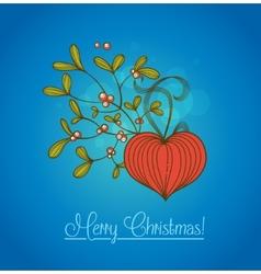 Blue christmas card with branch of mistletoe vector
