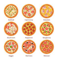 classical italian food pizza top view in cartoon vector image