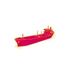 Container ship cargo boat mono line vector