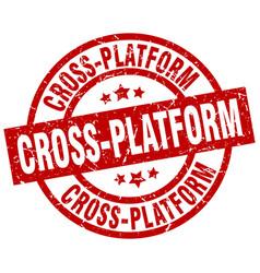 Cross-platform round red grunge stamp vector