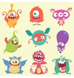 cute cartoon monsters set vector image