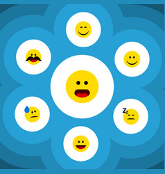 Flat icon gesture set of smile joy wonder and vector