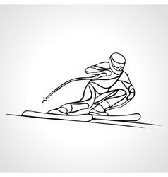 Giant slalom ski racer outline silhouette vector