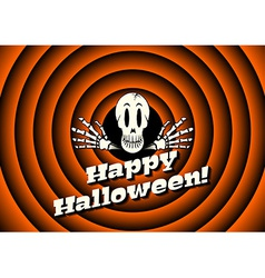 Halloween card with skeleton vector image vector image