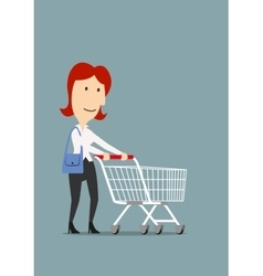 Happy businesswoman shopping with trolley cart vector image vector image