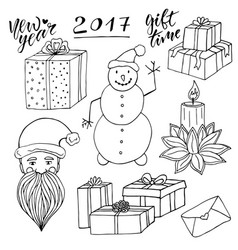 New year collection with santa and snowman vector