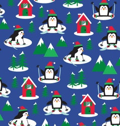 penguins ski scene vector image