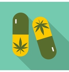 Pills marijuana icon flat style vector