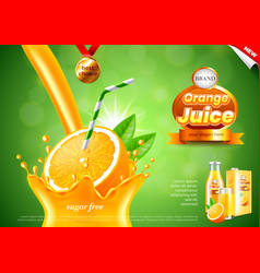 Pouring orange juice ads realistic background vector