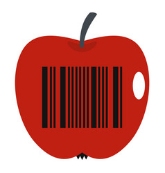 Red apple with barcode icon isolated vector
