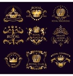 Royal traditions golden logos vector