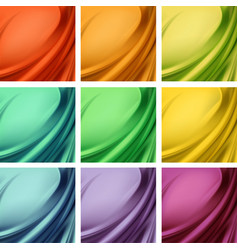 Set of colored satin textile with wavy folds vector