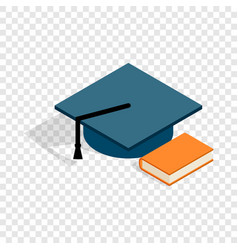 student hat and book isometric icon vector image vector image