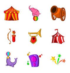 Trick icons set cartoon style vector