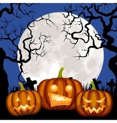 Cemetery and pumpkin vector