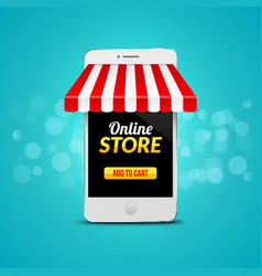 Mobile online store concept business design vector