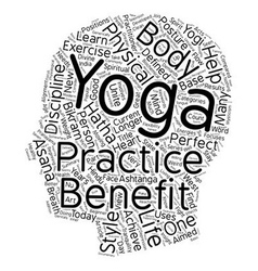 The benefit of yoga text background wordcloud vector