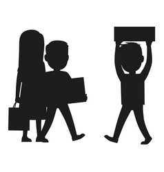People making purchases silhouette vector
