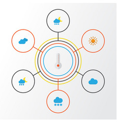 Air flat icons set collection of temperature vector